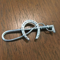 Antique Sterling Silver Whip and Horseshoe Stock Pin