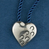 Sterling Silver Hoof Prints on My Heart Choker or Pin