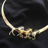Sterling Silver and 14k gold Three Galloping Horses Neckpiece.
