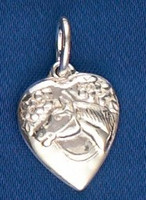 Sterling Silver Antique Horse in Heart Charm or Pendant