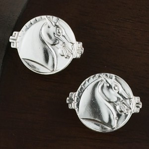 Sterling Silver Round Asian Horse Cufflinks