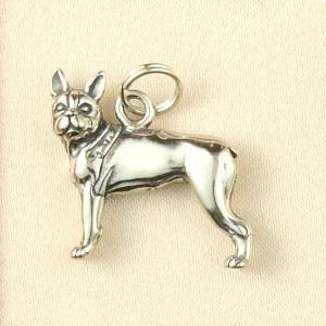 Sterling silver Boston Terrier Dog Charm or Pendant