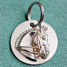 Sterling Silver Bridle Tag or Halter Tag with Dressage Horse