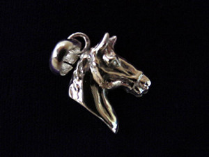 Sterling Silver Chunky Horse Head Charm or Pendant