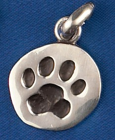 Sterling Silver Paw Print Charm or Pendant