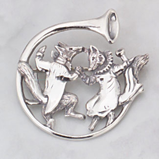 Sterling Silver Dancing Foxes in Horn PIN