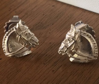 Sterling Silver Dressage Horse Earrings