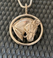 Sterling silver dressage horse in circle necklace.