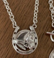 Sterling Silver Dressage Horse in Horseshoe Necklace