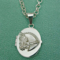 Sterling Silver Dressage Horse Locket Pendant