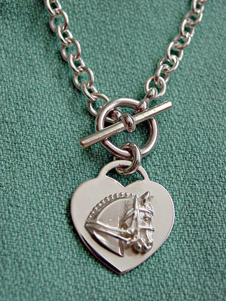 a2841e16d SKU: HRSC0308. Sterling Silver Dressage Horse on Heart on Tiffany-Style  Toggle Necklace