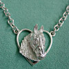 Sterling Silver Friesian Horse in Heart Necklace