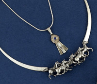 Sterling Silver Galloping Horse Neckpiece