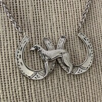 Sterling Silver Greyhound and Horseshoes Necklace