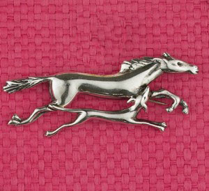 Sterling Silver Happy Horse and Hound Pin
