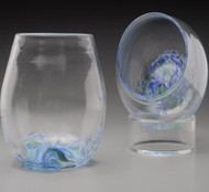 "Stemless ""not just for"" Wine Glasses. hand-sculpted and freeblown, no mold. Each approximately 3 X 3 inches. Offered in ""Summer Seas"" (blues, little white and green) and ""Autumn Splendor"" (amber/orange/red blend). Please specify preference in Order Notes or contact me with any questions."