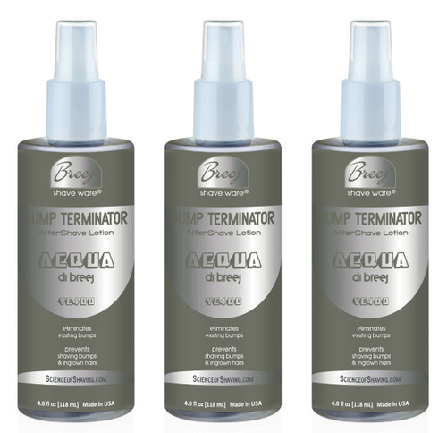 Bump Terminator Fragranced Anti Bump Aftershave Lotion ACQUA DI BREEJ VE400 Is formulated with An Exotic and Complex Fragrance That Embodies Strong Masculinity, Perfect For the Mysterious Man. An Enticing Combination of Apple spice, Mediterranean Bergamot, Black Currant, Tropical Pineapple, Patchouli, Vetiver, Oakmoss And Vanilla in an anti bump formula based on very effective natural healing oils and extracts plus glycolic acid, salicylic acid and alpha bisabolol. This advanced formulation Soothes and Conditions Shaved Skin leaving the Skin Bump free and fragranced. Recommended For Day time and Night time Wear.