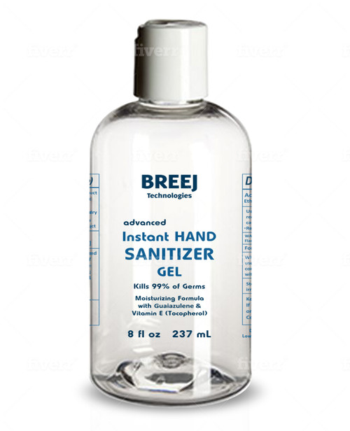 BREEJ INSTANT HAND SANITIZER, 8 fl oz  [ALCOHOL 80% V/V]  Moisturizing Formula with Guaiazulene and Vitamin E (Tocopherol)