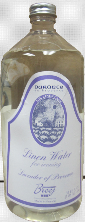 LUXURY FRENCH LAVENDER EAU DE LINGE [LINEN WATER] , 33.82 fl oz; Made in France   This Luxury Multi-Functional French Lavender Eau De Linge [Linen Water] – use in place of water for ironing] with its fine delicate lavender perfume would leave your linens with the heavenly fragrance of sun-kissed Provence Lavender.  Can also be used to freshen face masks, rooms etc.
