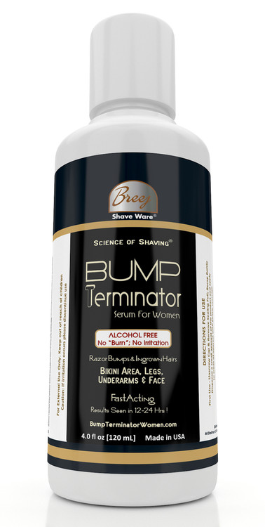 BUMP TERMINATOR ALCOHOL FREE ANTI BUMP SERUM FOR WOMEN  ALCOHOL FREE Fast Resolution of Bumps & Ingrown Hairs on Bikini Area, Legs, Underarm and Face ALCOHOL FREE Non-Irritating, Non-Stinging Formula Results Seen in 12-24 Hrs Soothes, Heals, Dries out the Bumps, Moisturizes and Conditions 100% Unconditional Money Back Guarantee