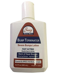 """For Fast Relief of Severe Shaving Bumps, Ingrown Hairs and Back of the Head Bumps  BUMP TERMINATOR Severe Bumps Lotion is a Fast Acting formula with very effective natural healing oils - lavender, patchouli, tea tree; extracts of gotu kola and willowbark plus glycolic acid, salicylic acid and alpha bisabolol. This advanced and Fast Acting BUMP TERMINATOR Severe Bumps Lotion is formulated with BREEJ Advanced Anti Bump Phytoplex for the fast relief of Back of the Head Bumps.  DIRECTIONS FOR USE  Gently Cleanse Affected Areas With The Bump Terminator Severe Bumps Lotion Using """"Bounty"""" Type Paper Towel.  NOTE: Product Is For Severe Shaving Bumps, Ingrown Hairs and Back of the Head Bumps.  For People With Sensitive Skin We Offer Our BUMP ZAPPER Severe Bumps Kit.  Alternatively, You Can Dilute The BUMP TERMINATOR Severe Bumps Lotion With An Equal Volume Of Water At Time Of Use  CAUTION: Discontinue use if irritation occurs"""