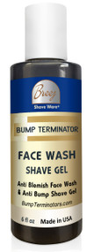 This advanced anti bump and anti-blemish facial wash formulated with Quillaja Saponaria Bark Extract and oat amino acid based cleansing agent in synergy with anti inflammatory bisabolol, sebum modulating Tiolisina complex, skin conditioning Panthenol and  extracts of Foeniculum Vulgare, Humulus Lupulus, Achillea Millefolium gently cleanses your face with mild exfoliation, leaving your face smooth and free of blemishes. This multi-action BUMP TERMINATOR Anti Bump Face Wash can also be used as a pre-shave gel for classic razor shaving.