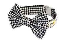 Clasp Collar with Bow Tie [Dog Tooth BW]