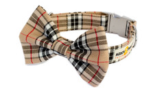 Clasp Collar with Bow Tie [Tartan Tan]