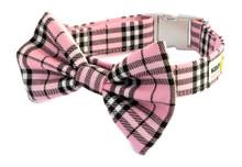 Metal Clasp Collar with Bow Tie [Tartan Pink]