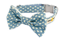 Clasp Collar with Bow Tie [Hearts Blue]