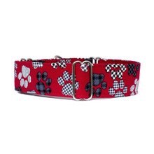 Martingale Collar [Paws Red]