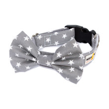 Clasp Collar with Bow Tie [Stars Grey]