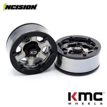 Incision 1.9 KMC KM233 Hex Black Chrome Plastic