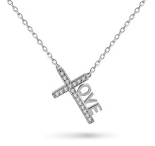 "Love Cross™ INSPIRE MINI in solid sterling silver with 18 CZ stones on an 18"" chain.   Pendant Size: 7/8"" x 1/2"" Made in USA."