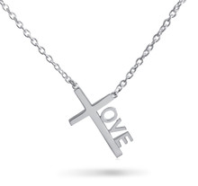 "Love Cross™ CLASSIC MINI in Solid Sterling Silver on an 18"" Silver chain.   Pendant Size: 7/8"" x 1/2"" Made in USA."