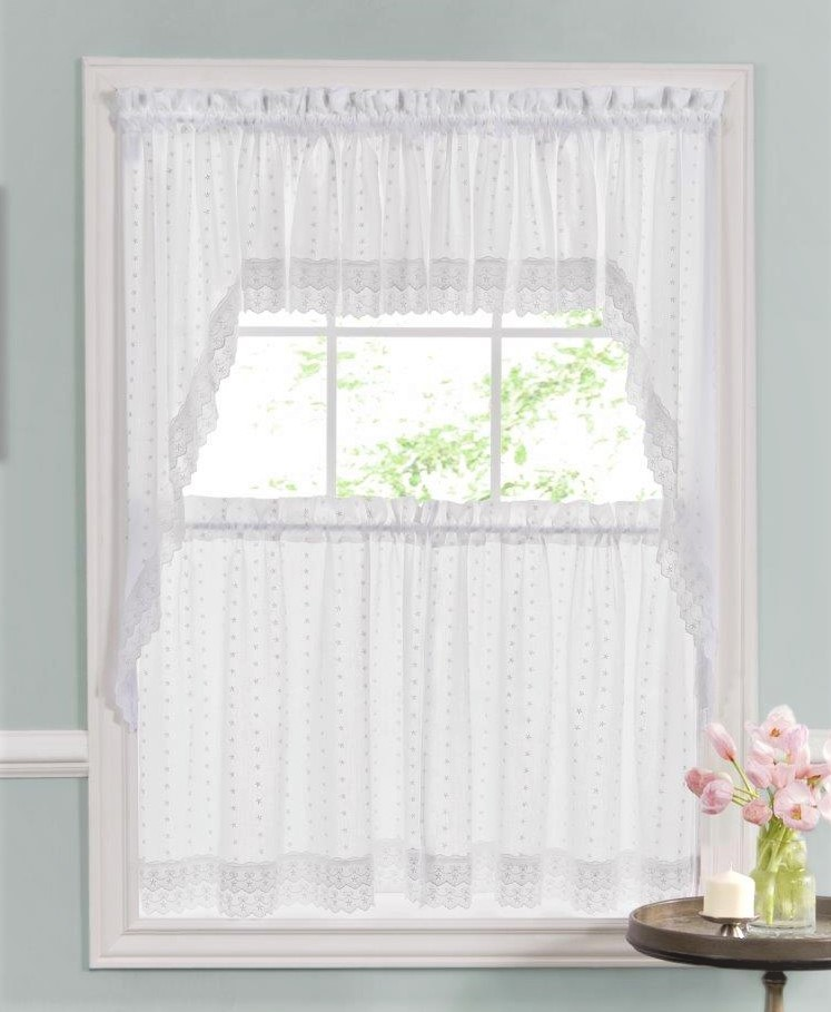 Rosemary Linen Kitchen Curtain Swag: Kitchen Curtains