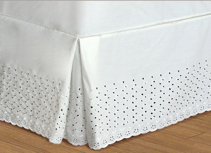 "Vienna Embroidered Eyelet Bedskirt King - 18"" DROP"