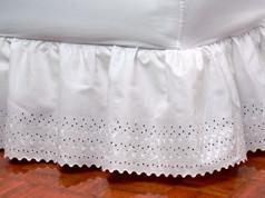 Tiara Eyelet Bedskirt Dust Ruffle - White
