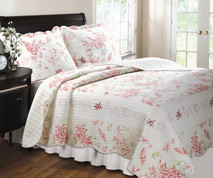 Coral Red Quilt Set Twin