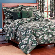 Camo Green Square Pillow - Light