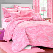 Camo Pink Square Pillow - Light