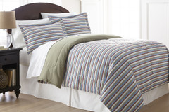 Micro Flannel - 3pc KING Comforter Set - Awning Stripe