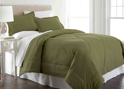 Micro Flannel - 3pc F/QUEEN Comforter Set - Olive from Shavel
