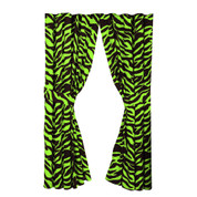 Lime Zebra Lined Curtain pair