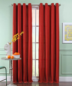 Reed Grommet Top Curtain Panel  - CRIMSON
