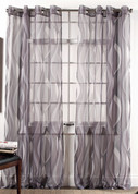 Retro Sheer Grommet Top Curtain Panel - Chrome