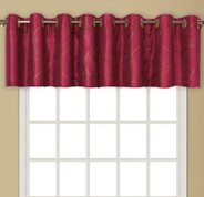 Sinclair Embroidered Grommet Top Valance - Burgundy
