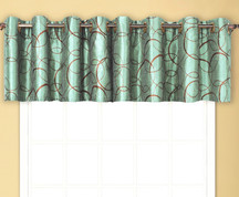 Sinclair Embroidered Grommet Top Valance - Blue