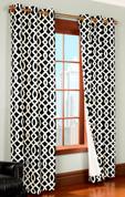 Trellis Insulated Grommet Top Curtain Pair  - BLACK