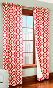 Trellis Insulated Grommet Top Curtain Pair  - RED